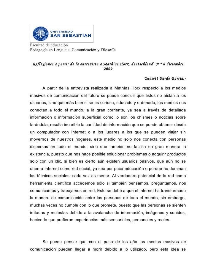 Facultad de educaciónPedagogía en Lenguaje, Comunicación y Filosofía Reflexiones a partir de la entrevista a Mathias Horx,...