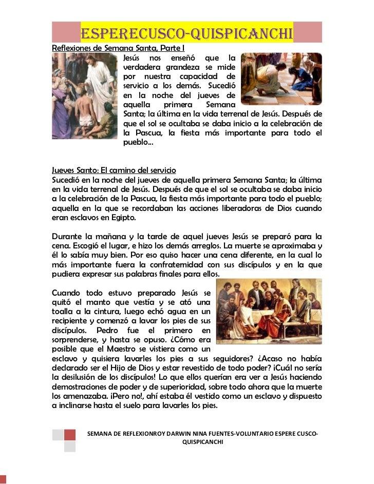 ESPERECUSCO-QUISPICANCHIReflexiones de Semana Santa, Parte I                   Jesús nos enseñó que la                   v...