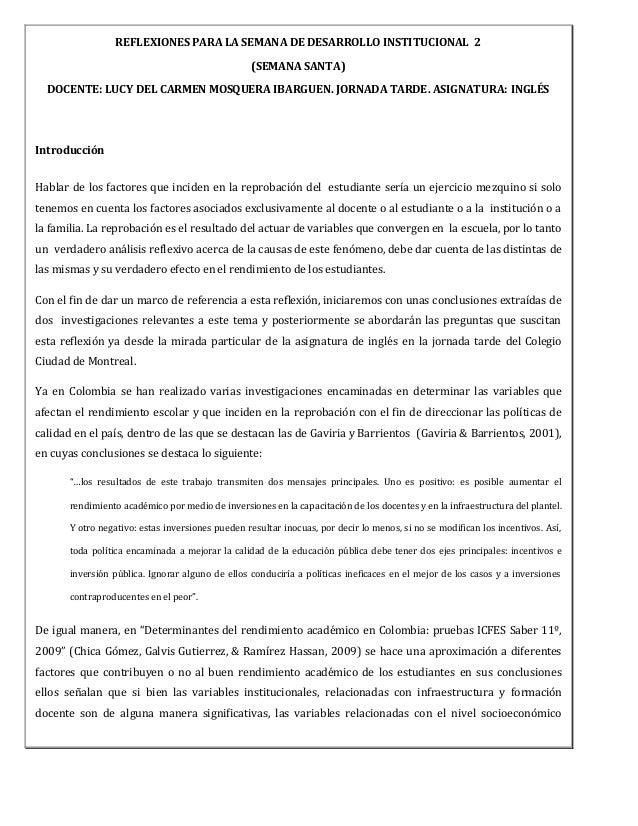 REFLEXIONES PARA LA SEMANA DE DESARROLLO INSTITUCIONAL 2                                                  (SEMANA SANTA)  ...