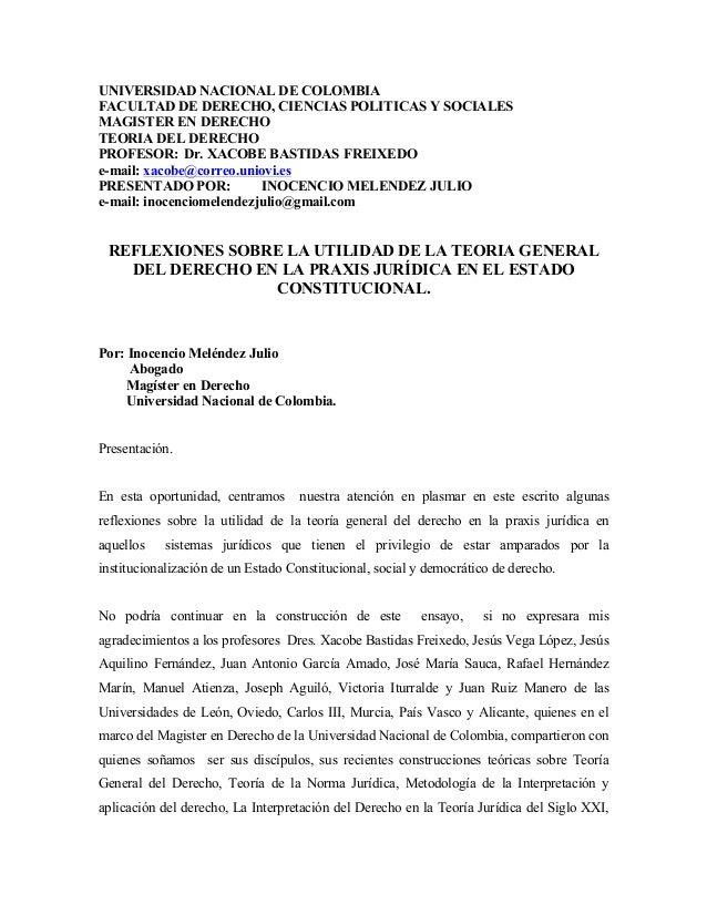 UNIVERSIDAD NACIONAL DE COLOMBIAFACULTAD DE DERECHO, CIENCIAS POLITICAS Y SOCIALESMAGISTER EN DERECHOTEORIA DEL DERECHOPRO...