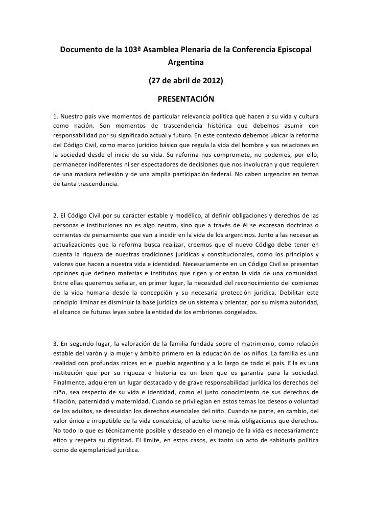 Documento de la 103ª Asamblea Plenaria de la Conferencia Episcopal                            Argentina                   ...