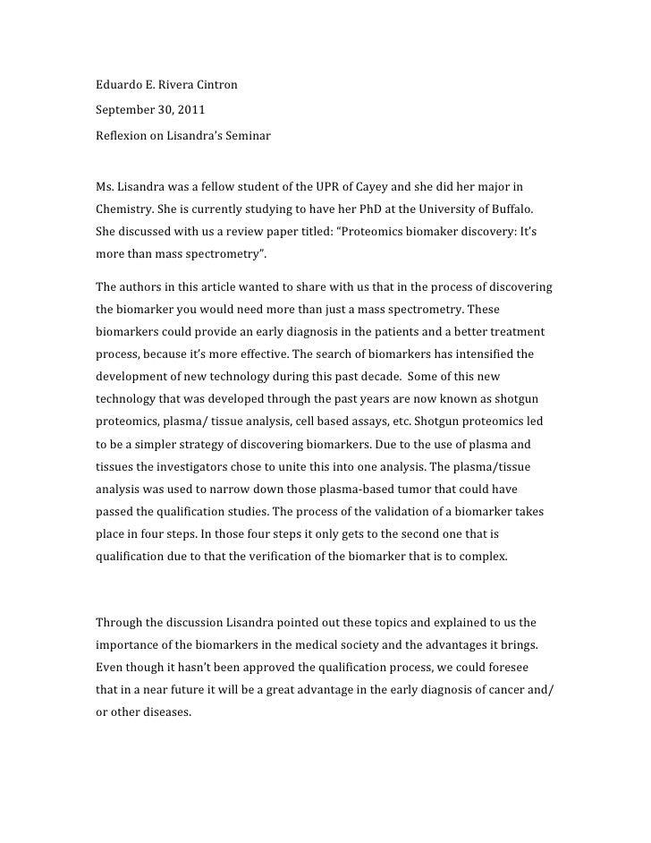 Eduardo E. Rivera CintronSeptember 30, 2011Reflexion on Lisandra's SeminarMs. Lisandra was a fellow student of the UPR of ...