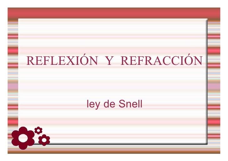 REFLEXIÓN Y REFRACCIÓN ley de Snell