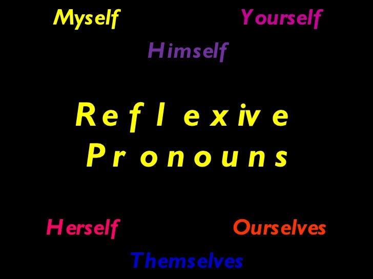<ul><li>Myself Yourself </li></ul><ul><li>Himself </li></ul><ul><li>Reflexive Pronouns </li></ul><ul><li>Herself Ourselves...