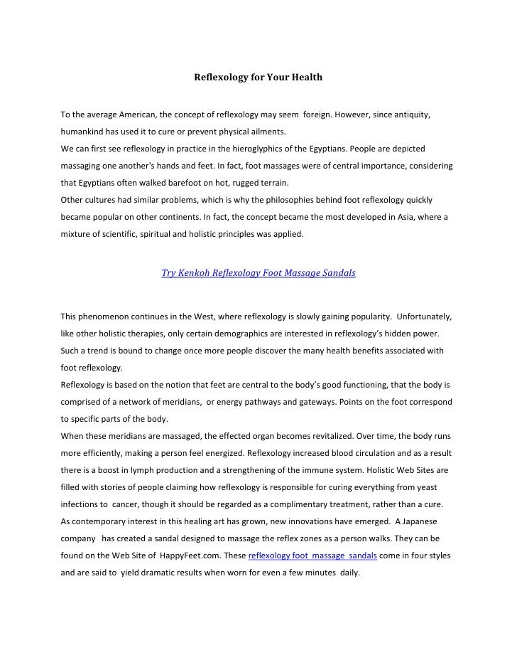 Reflexology for your healthReflexology and Health