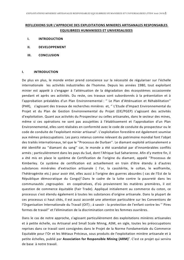 EXPLOITATIONS MINIERES ARTISANALES RESPONSABLES EQUILIBREES HUMANISEES ET UNIVERSALISEES (TTDN Août 2010)1         REFLLEX...