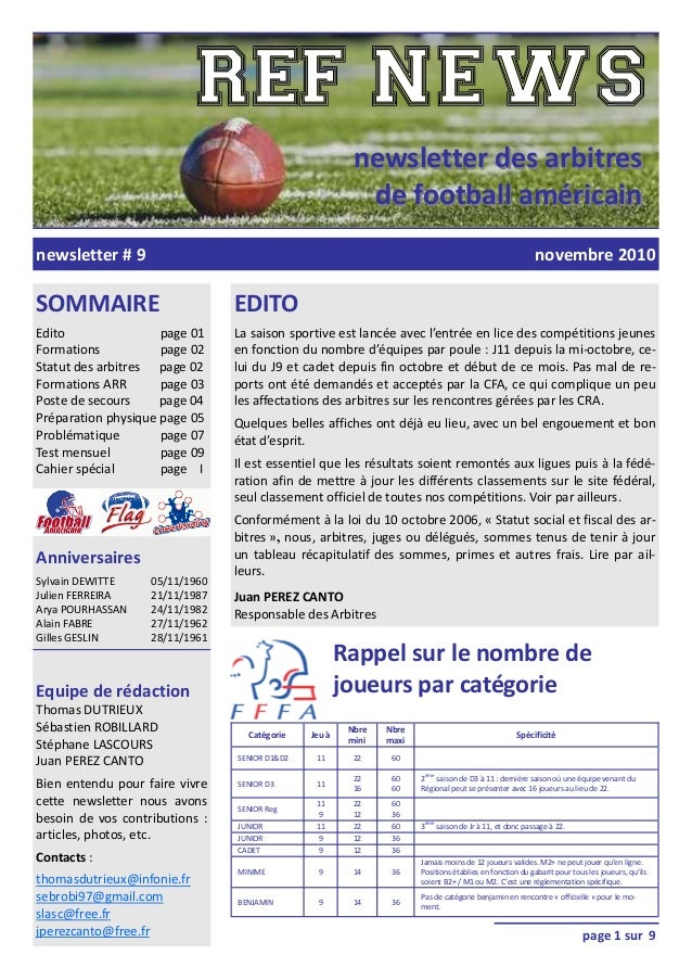newsletter#9 newsletterdesarbitresnewsletterdesarbitres defootballaméricaindefootballaméricain SOMMAIRE E...