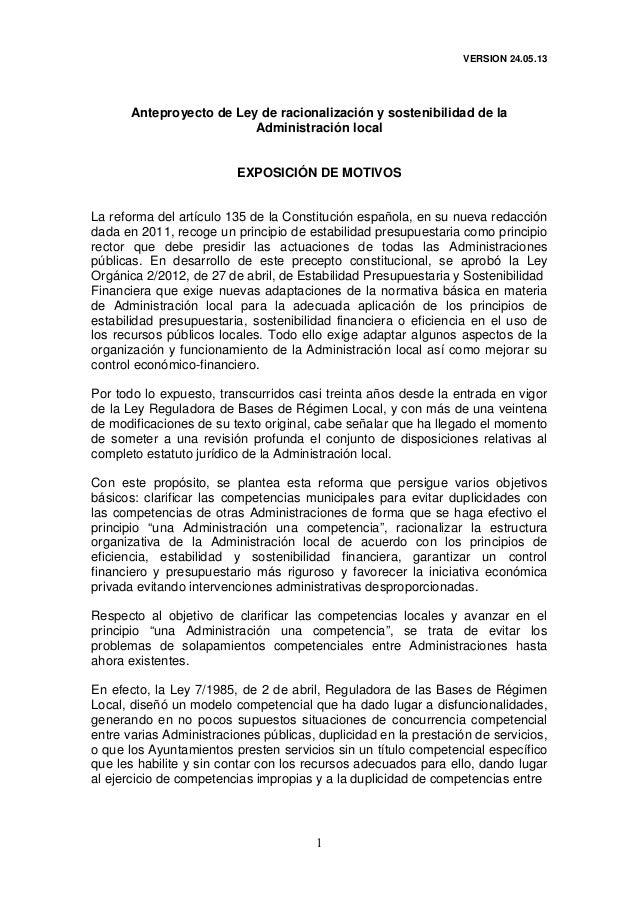 VERSION 24.05.131Anteproyecto de Ley de racionalización y sostenibilidad de laAdministración localEXPOSICIÓN DE MOTIVOSLa ...