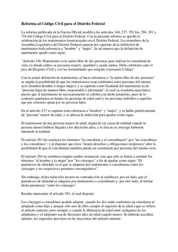 Reforma al Código Civil para el Distrito Federal<br />La reforma publicada en la Gaceta Oficial modifica los artículos 146...