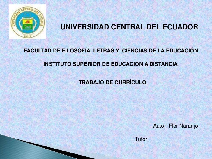 UNIVERSIDAD CENTRAL DEL ECUADOR<br />FACULTAD DE FILOSOFÍA, LETRAS Y  CIENCIAS DE LA EDUCACIÓN<br />INSTITUTO SUPERIOR DE ...