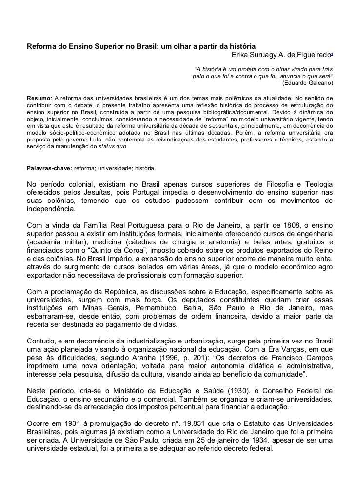 Reforma do Ensino Superior no Brasil: um olhar a partir da história                                                       ...