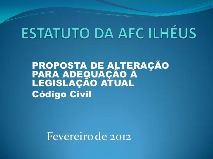 Sugestão de Reforma do ESTATUTO AFC ILHÉUS