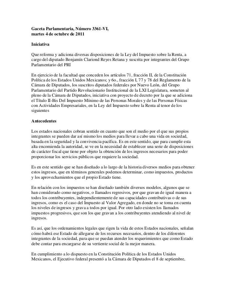 Gaceta Parlamentaria, Número 3361-VI,martes 4 de octubre de 2011IniciativaQue reforma y adiciona diversas disposiciones de...