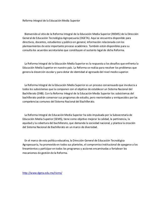 Reforma Integral de la Educación Media Superior  Bienvenido al sitio de la Reforma Integral de la Educación Media Superior...
