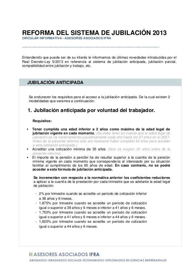 Novedades en las pensiones de jubilación 2013   real decreto-ley 5-2013