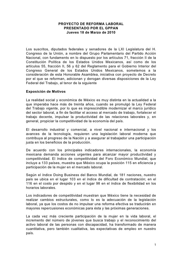 PROYECTO DE REFORMA LABORAL                        PRESENTADO POR EL GPPAN                         Jueves 18 de Marzo de 2...