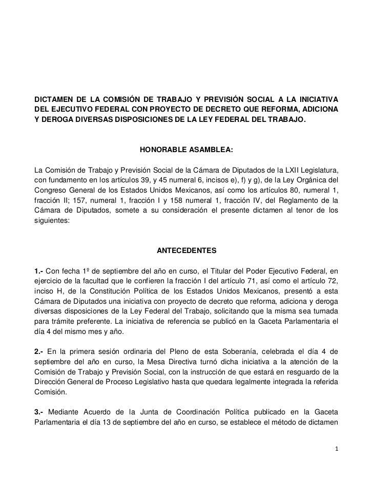 DICTAMEN DE LA COMISIÓN DE TRABAJO Y PREVISIÓN SOCIAL A LA INICIATIVADEL EJECUTIVO FEDERAL CON PROYECTO DE DECRETO QUE REF...