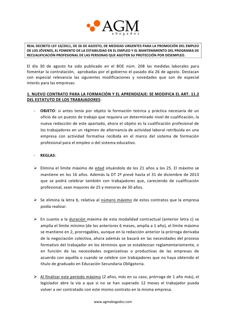Reforma laboral agosto 2011 - AGM Abogados