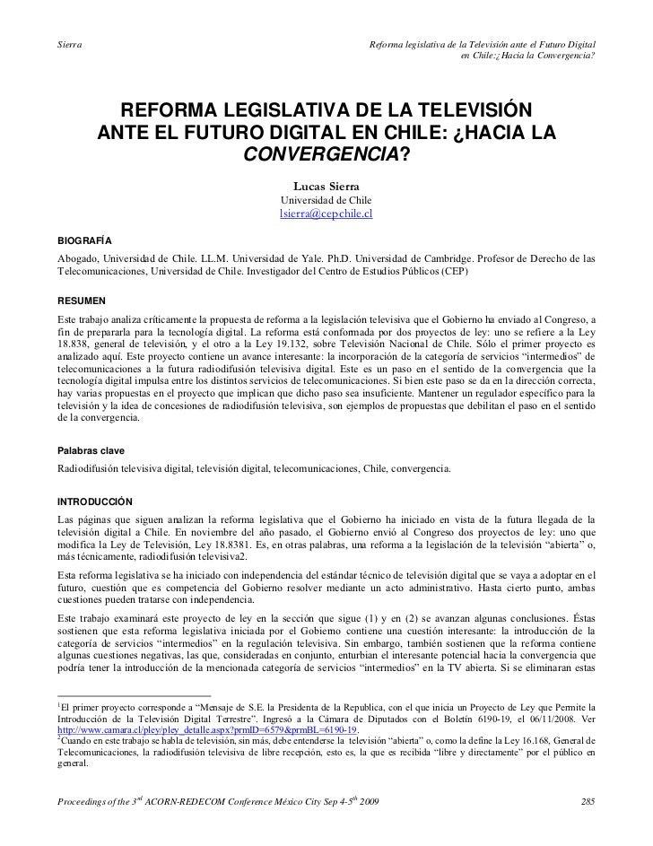 Reforma legislativa de la televisión ante el futuro digital en chile ¿hacia la convergencia   lucas sierra (2009)