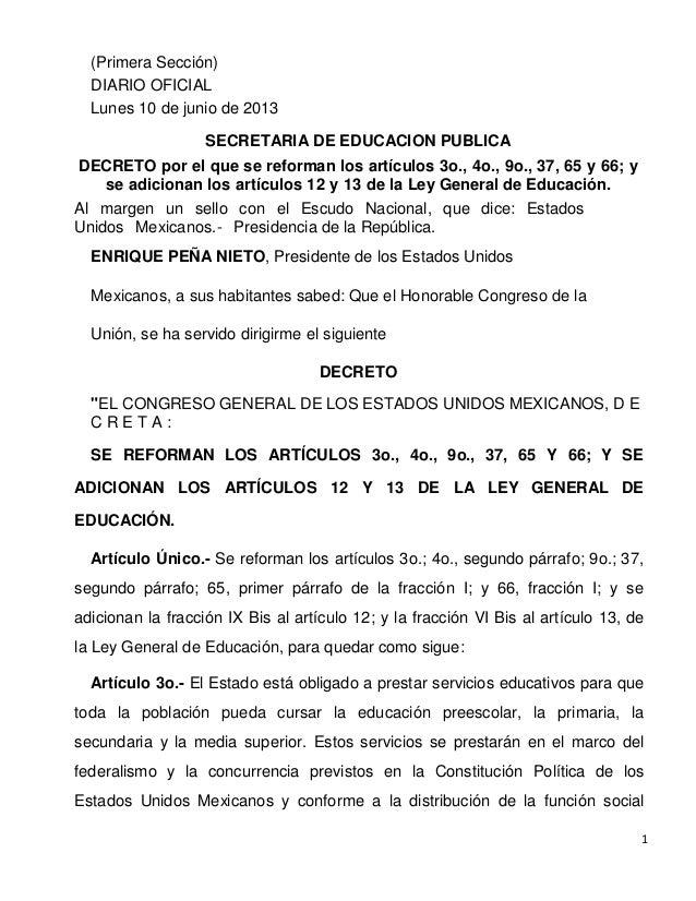 Reforma ley general educacion 10jun13