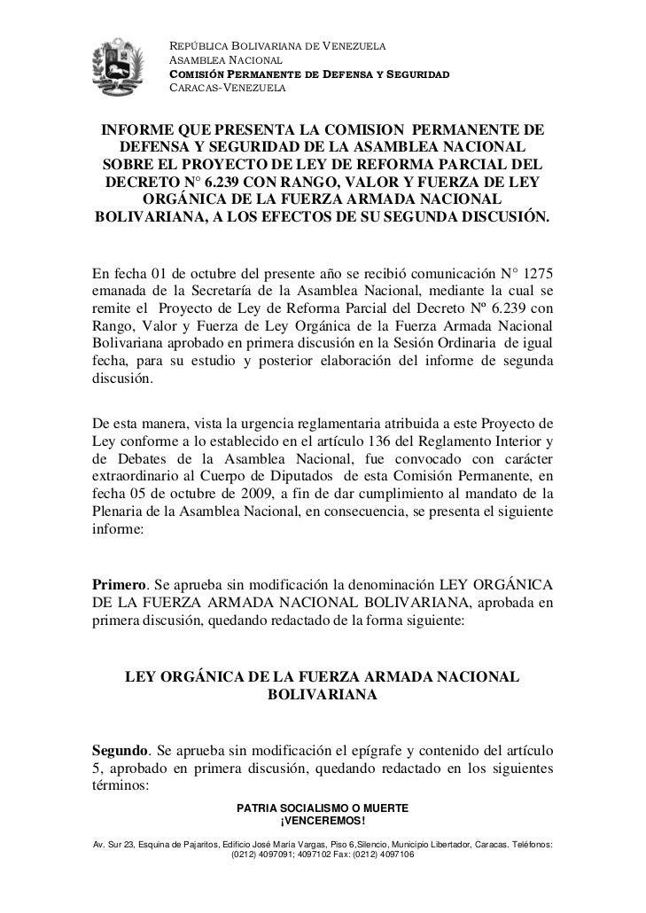 REPÚBLICA BOLIVARIANA DE VENEZUELA                   ASAMBLEA NACIONAL                   COMISIÓN PERMANENTE DE DEFENSA Y ...