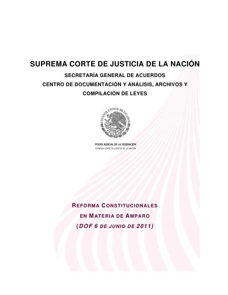 SUPREMA CORTE DE JUSTICIA DE LA NACIÓN         SECRETARÍA GENERAL DE ACUERDOS  CENTRO DE DOCUMENTACIÓN Y ANÁLISIS, ARCHIVO...