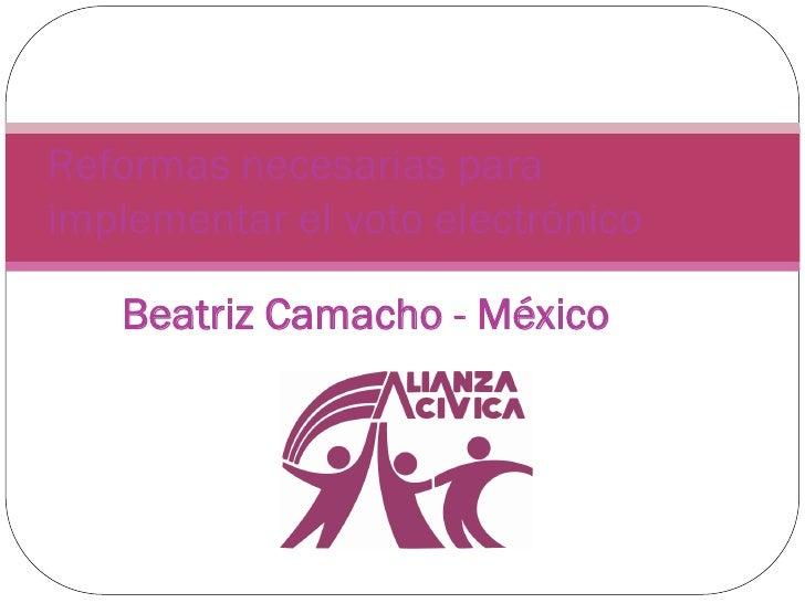 Reformas necesarias paraimplementar el voto electrónico   Beatriz Camacho - México