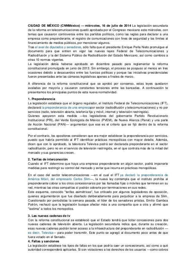 CIUDAD DE MÉXICO (CNNMéxico) — miércoles, 16 de julio de 2014 La legislación secundaria de la reforma en telecomunicacione...