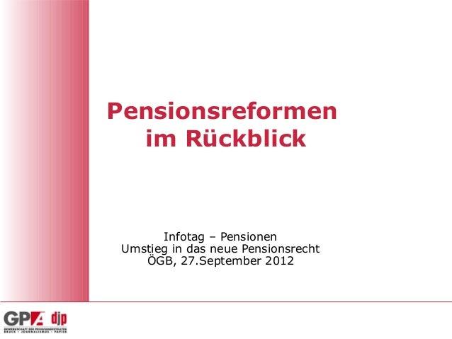 Pensionsreformen im Rückblick Infotag – Pensionen Umstieg in das neue Pensionsrecht ÖGB, 27.September 2012