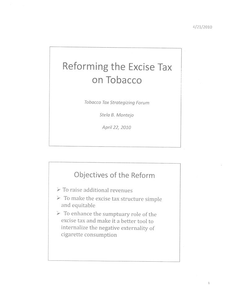 Reforming Tobacco Excise Taxes