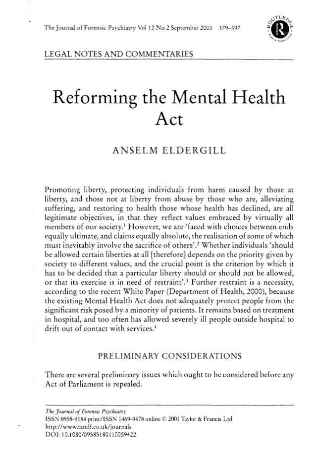 Reforming the mental health act