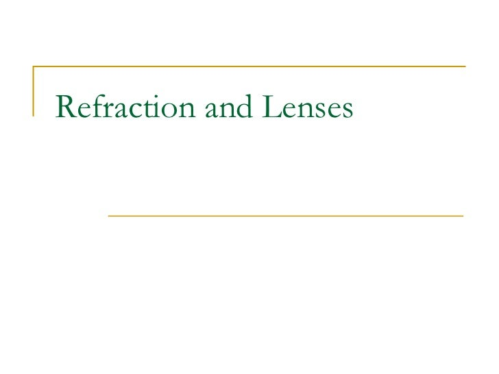Refraction and Lenses