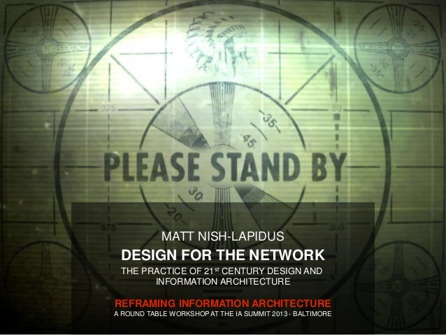 MATT NISH-LAPIDUS DESIGN FOR THE NETWORK THE PRACTICE OF 21st CENTURY DESIGN AND       INFORMATION ARCHITECTUREREFRAMING I...