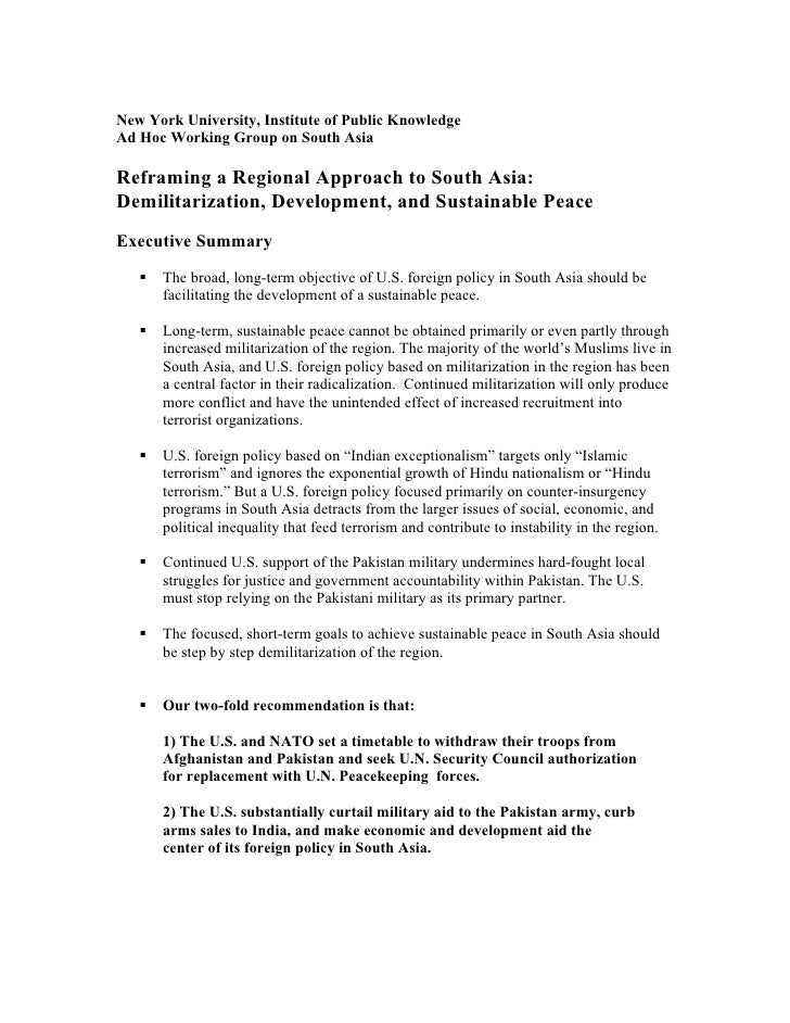 New York University, Institute of Public Knowledge Ad Hoc Working Group on South Asia  Reframing a Regional Approach to So...