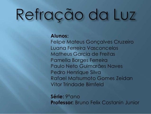 Alunos: Felipe Mateus Gonçalves Cruzeiro Luana Ferreira Vasconcelos Matheus Garcia de Freitas Pamella Borges Ferreira Paul...