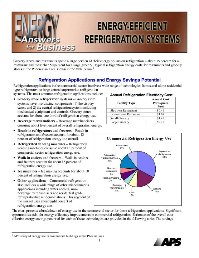 Grocery stores and restaurants spend a large portion of their energy dollars on refrigeration – about 15 percent for a    ...