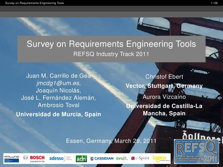 Survey on Requirements Engineering Tools                                                   1 / 26              Survey on R...