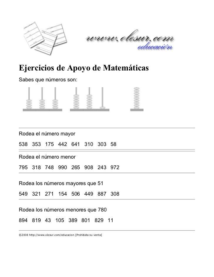 Ejercicios de Apoyo de MatemáticasSabes que números son:                                                             ...
