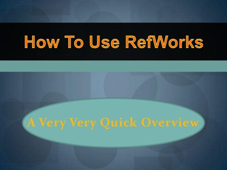 RefWorks 2012
