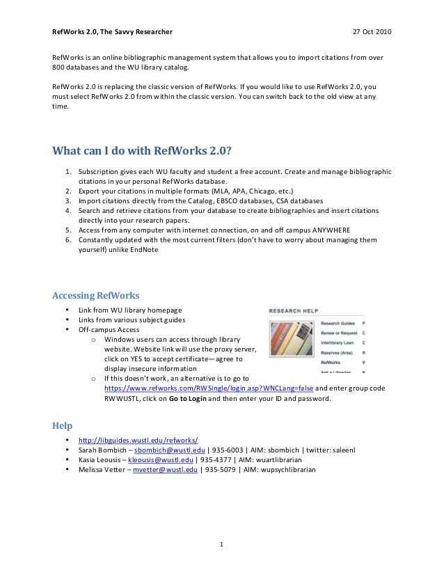 RefWorks 2.0, The Savvy Researcher