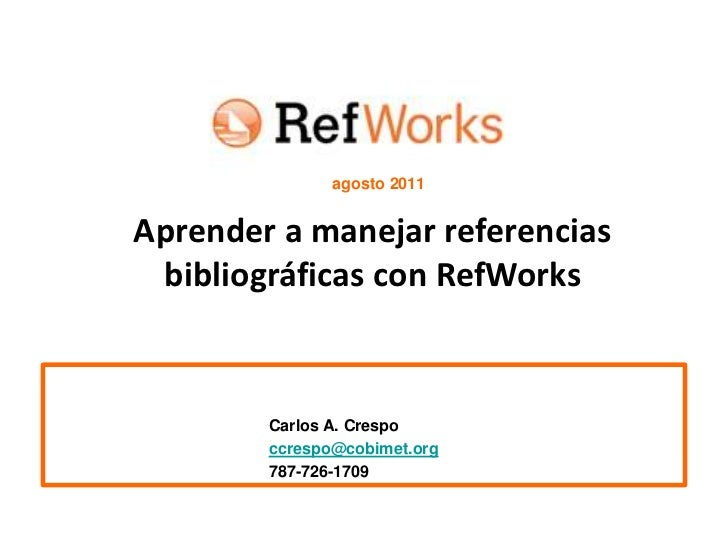 Refworks presentation cmpr