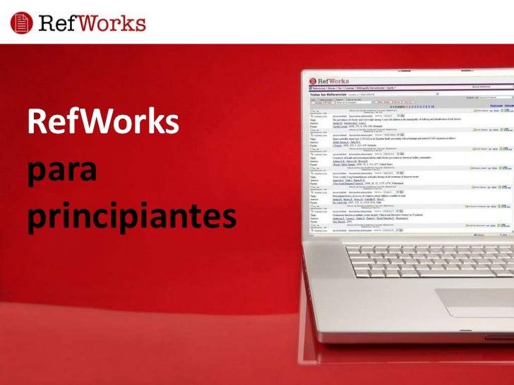 RefWorks   para  principiantes