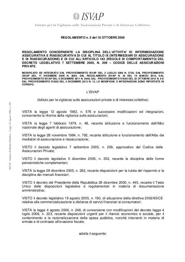 testo aggiornato del Regolamento n. 5/2006 sull'intermediazione assicurativa e riassicurativa