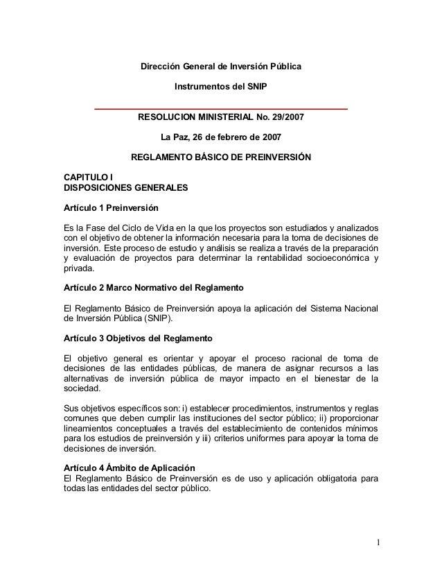 Dirección General de Inversión Pública                             Instrumentos del SNIP                   RESOLUCION MINI...