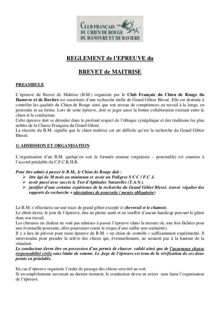 REGLEMENT de l'EPREUVE du                                   BREVET de MAITRISEPREAMBULEL'épreuve du Brevet de Maîtrise (B....