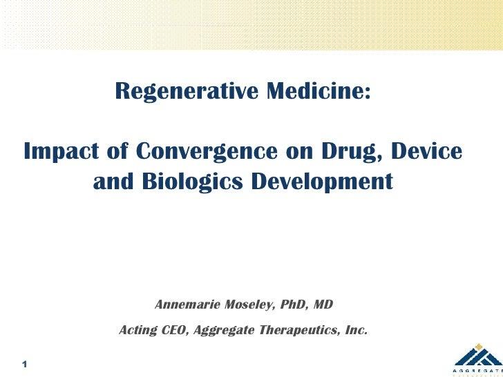 Regenerative Medicine: Impact of Convergence on Drug, Device, and Biologics Development