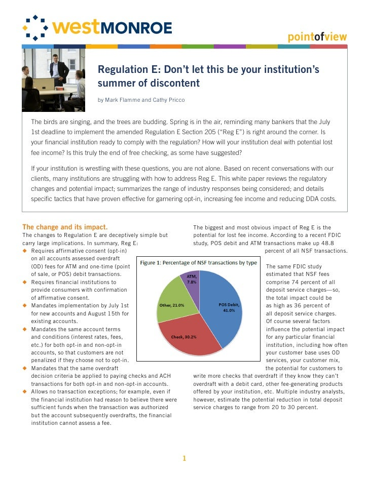 pointofview                               Regulation E: Don't let this be your institution's                              ...