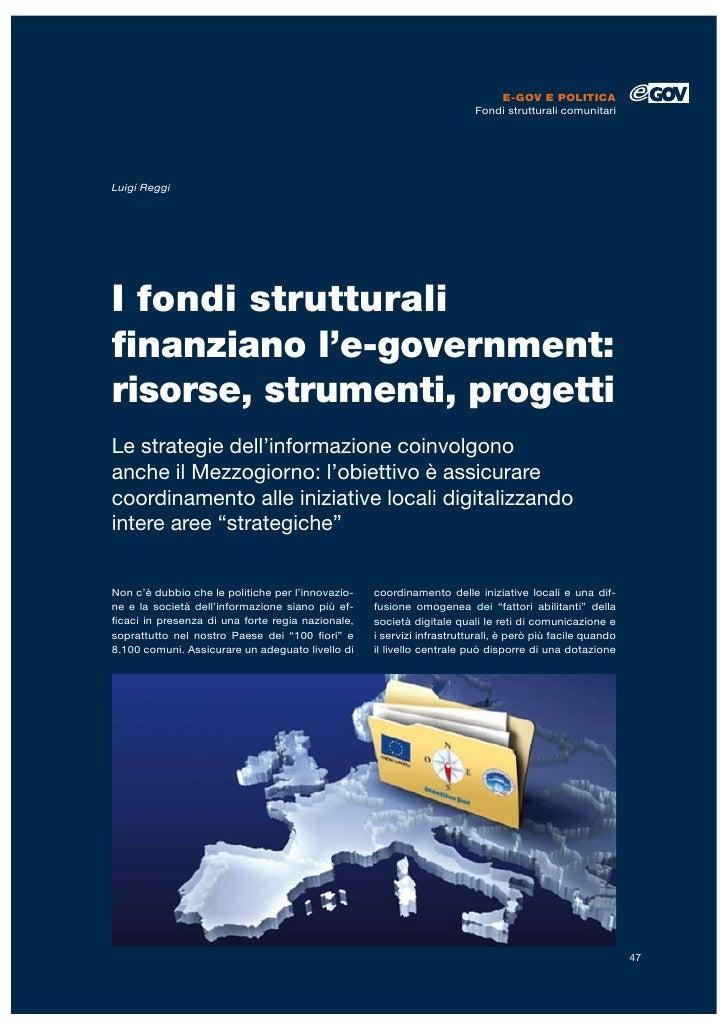 E-GOV E POLITICA                                                                        Fondi strutturali comunitariLuigi ...