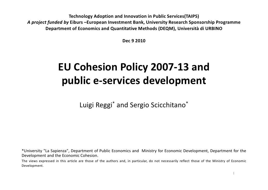 EU Cohesion Policy 2007-13 and public e-services development