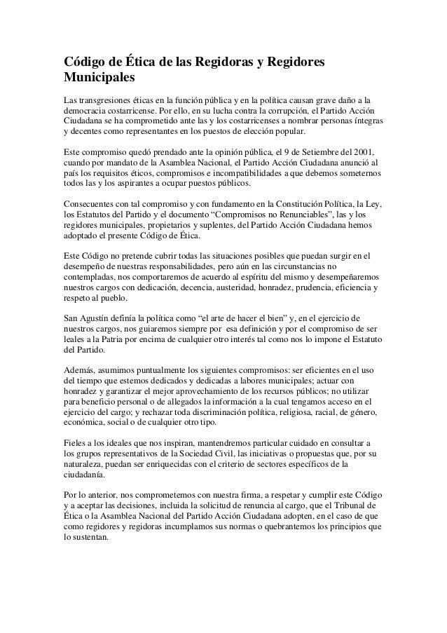 Código de Ética de las Regidoras y Regidores Municipales Las transgresiones éticas en la función pública y en la política ...
